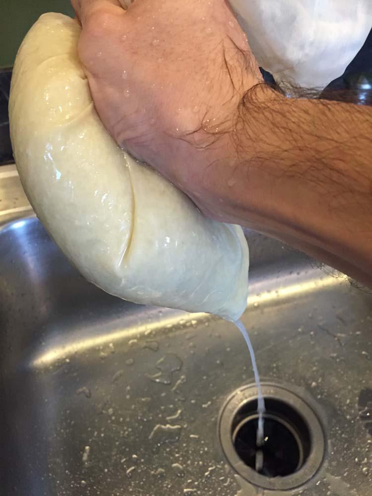 Squeezing Riced Cauliflower Dry